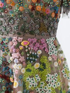 Valentino floral embroidered dress fabric couture beaded embellishments fashion inspiration for spring summer. Valentino floral embroidered dress fabric couture beaded embellishments fashion inspiration for spring summer. Couture Embellishment, Couture Embroidery, Embroidery Fashion, Beaded Embroidery, Embroidery Designs, Couture Beading, Floral Embroidery Dress, Embroidery Boutique, Fabric Embellishment