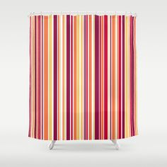 Candy Stripe Summer Shower Curtain - $68.00  #showercurtain #bathroom #homedecor #stripes #summer #red #yellow #orange