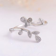 Unique Diamond Ring Twig Ring Cluster Flower Open Adjustable Inspired Art Deco White Gold Ring Diamond Band Beaded Anniversary Leaf Ring by LoveRingsDesign on Etsy https://www.etsy.com/listing/520680545/unique-diamond-ring-twig-ring-cluster