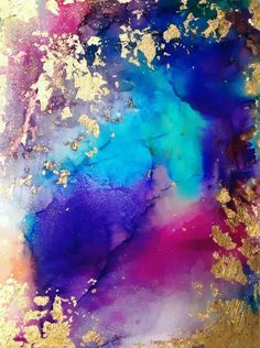 Alcohol Ink Painting, Alcohol Ink Art, Bild Gold, Diy Girlande, Mermaid Wall Art, Purple Art, Purple Gold, Purple Painting, Gold Leaf Art