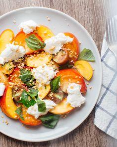 Peach, Heirloom Tomato and Burrata Salad