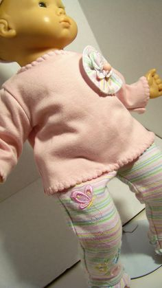 Bitty Baby Doll Clothes, Tshirt, Striped Leggings, Hat. Sold on Etsy