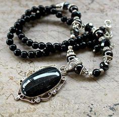 Necklace Black Onyx and Falcons eye Gemstone  by RavenshiresRealm