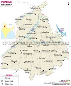 Find Punjab river map showing rivers which flows in and oust side of the State Punjab and highlights district and state boundaries. Geography Map, Teaching Geography, India Map, India Travel, Indian River Map, Road Trip Adventure, Adventure Awaits, Names Of Birds, Temple Thailand