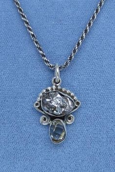 Petite Meteorite & Herkimer Diamond Necklace - Sterling Silver - M200951