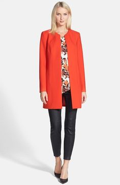Love this look head to toe!  This orange topper jacket, leather leggings, pumps and blouse are all on sale now during Nordstrom's Anniversary Sale of all new pre-fall and fall products!