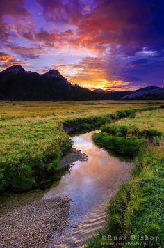 ☀Sunset over Tuolumne Meadows along Budd Creek, Yosemite National Park, California USA by © Russ Bishop*