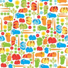 Guinea Pig Vegetable Patch fabric by upcyclepatch on Spoonflower - custom fabric