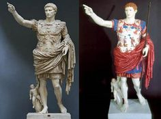 This is to show what the Romans would have worn; this is Octavian a general, this shows what the generals (people looked up to as leaders) would have wore. Also shows Octavian's attempt at divine right to rule.