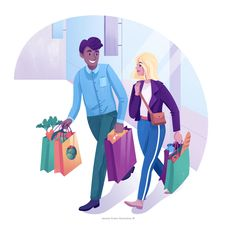 Grocery shopping illustration by Jasmijn Solange Evans Flat Illustration, Illustrations, Sf, Brainstorm, Evans, Family Guy, Clip Art, Digital, Fictional Characters