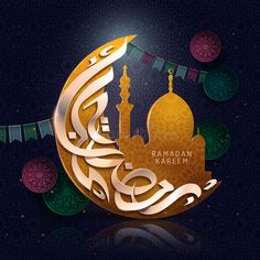 Illustration about Arabic calligraphy design for Ramadan Kareem, with crescent, mosque image and colorful flags. Illustration of moonlight, gold, islam - 90849100 Ramadan Activities, Ramadan Crafts, Ramadan Decorations, Ramadan Mubarak Wallpapers, Eid Mubarak Vector, Mubarak Images, Arabic Calligraphy Design, Islamic Calligraphy, Ramadan Poster