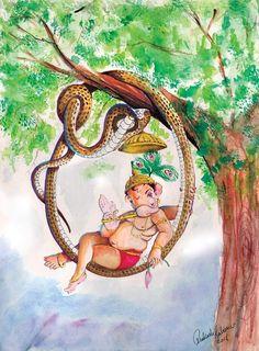 Ganesh sitting in a snake hammock Ganesha Sketch, Ganesha Drawing, Lord Ganesha Paintings, Ganesha Art, Krishna Art, Shri Ganesh, Hare Krishna, Ganpati Drawing, Happy Ganesh Chaturthi Images