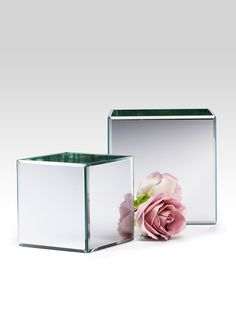 Square cube glass beveled edge mirror vase flower arrangements gay romantic modern classic wedding event floral supplies tv set stage movie props