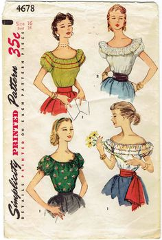 1950s Peasant Blouse Pattern Simplicity 4678. Off the Shoulder Blouse w/ Short Puff Sleeves, Elastic Neckline, Ruffle. Size 16 bust 34 by MiAbDryGoods on Etsy
