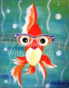 Silly Gold Fishy - Tampa Painting Class - Painting with a Twist