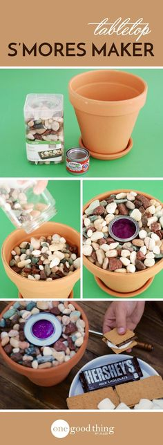 You can have all the fun of roasting marshmallows and making s'mores - without a campfire! This tabletop s'mores maker is unbelievably easy to make. (scheduled via http://www.tailwindapp.com?utm_source=pinterest&utm_medium=twpin&utm_content=post140912153&utm_campaign=scheduler_attribution)