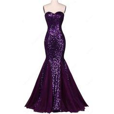 Purple Sparkly Trumpet Mermaid Sweetheart Chiffon Sequined Floor... (440 BRL) ❤ liked on Polyvore featuring dresses, chiffon prom dresses, long sparkly dress, long sequin dress, sequin prom dresses and purple dress