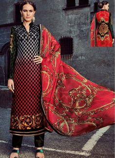 Party Red and Black Trendy Churidar Salwar Suit