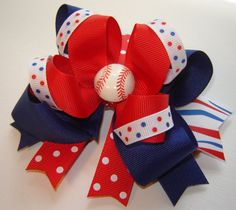 """Girl's, Toddlers Large """"Baseball"""" Twisted Boutique Red, White and Blue Ribbon w/Baseball Embellishment - flip flop embellishment & matching hair bow??"""