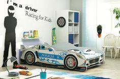 Kinderbett Spielbett Autobett CARS silbern 160/80 + Lattenrost + Matratze inkl.