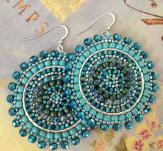 Aquamarine and Turquoise Seed Beaded Earrings - Big Bold Multicolored Disc Earrings