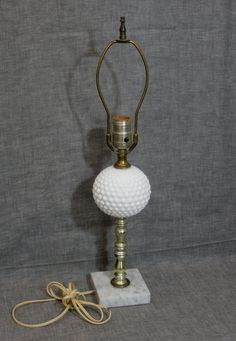 Milk Glass Hobnail Lamp with Marble Base by WildrosePrimitives