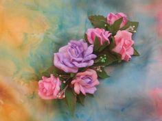 """Ручная работа Заколка-зажим  из  фоамирана  """"Любви  цветение"""""""