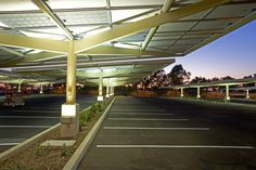 Sun shades cool parking lots, pump out solar energy