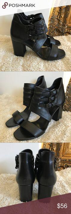 Zara Heels Black leather Zara heels worn triple buckle strap. Never worn and no damage. True to size. Zara Shoes Heels
