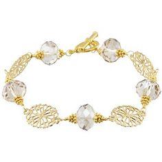 Gold Filagree and Crystal Bracelet