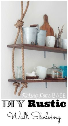 Rustic DIY Wall Shelving. I've seen something similar in Anthropologie! Easy DIY!!