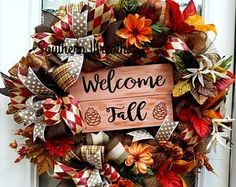 Fall Front Door Wreath, Welcome Wreath, Thanksgiving Decoration, Burlap Fall Wreath, Sunflower Wreath, Fall Door Hanger,Fall Florals