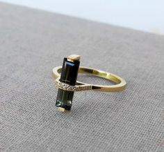 Tourmaline Ring, Unique Engagement Ring, Gold Tourmaline Ring, Baguette Diamond Ring, Baguette Engagement Ring, 18k solid gold ring, For Her
