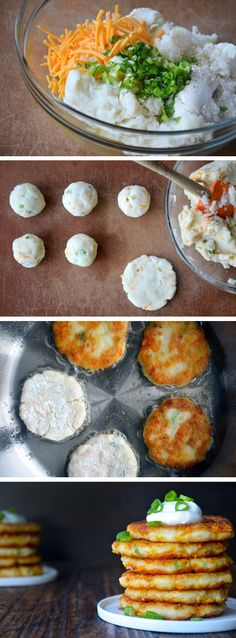 Cheesy Leftover Mashed Potato Pancakes #recipe via justataste.com