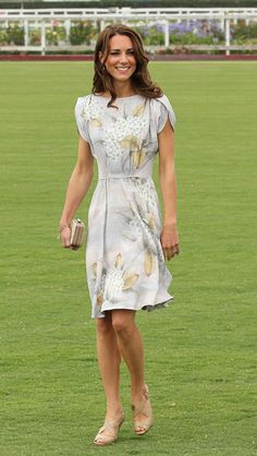 Watching Prince William play polo in Santa Barbara wearing a floral, floaty Jenny Packham number