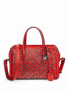 Alexander McQueen - Small Studded Zip-Around Padlock Satchel - Saks.com