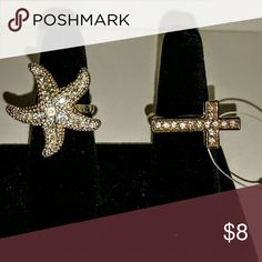 2 adjustable cocktail rings starfish & cross 2 rings for sale.  A cute starfish in 925 silver plate and sparkly cross stretch ring in gold. Both rings are adjustable and one size fit all. New, never worn Jewelry Rings