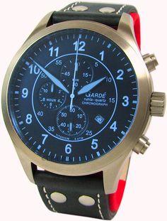Garde Ruhla großer Chrono Fliegeruhr Titan pilot watch Chronograph Herrenuhr | eBay