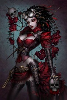 Lady Mechanika colored! Character creation by Joe Benitez. Pencils by me. Colors by Sabine Rich Art for Anastasia's Collectibles.