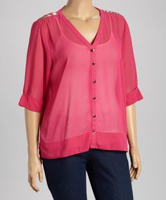 This Magenta Embellished Button-Up Top - Plus is perfect! #zulilyfinds