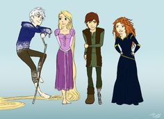 merida hiccup jack rapunzel | Unfortunately this is quite rough since I was pressed for time, so I ...