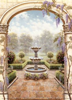 58 Mural : for garden room fountain through arch Mural Painting, Mural Art, Wall Murals, Wall Art, Paintings, Garden Mural, Plaster Art, Fresco, Decoupage