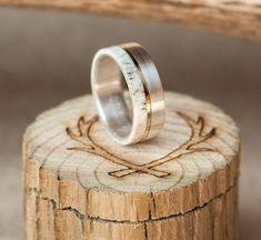 Mens Wedding Band Elk Antler Ring w/ 10K Gold Inlay - Staghead Designs