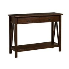 Linon Home Decor Titian Pine and Painted MDF Antique Tobacco Console Table-86152ATOB-01-KD-U - The Home Depot