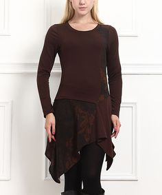 Look at this Brown Floral Handkerchief Tunic on #zulily today!