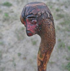 Hand Carved Bird Head walking Stick cane made in one piece