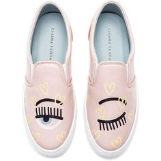 Chiara Ferragni Candy Flirting Slip On (€240) ❤ liked on Polyvore featuring shoes, sneakers, flats, rubber sole shoes, slip-on sneakers, pull-on sneakers, slip on sneakers and patent leather flats