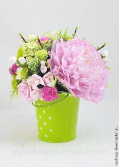 """Clay handmade flowers by Rusha. Pink peony. Интерьерные композиции ручной работы. Ярмарка Мастеров - ручная работа Цветы из полимерной глины. Букет """"Мавка"""". Handmade."""