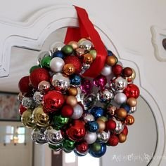 DIY wreath with thrift and dollar store ornaments on the 12 Days of Christmas Tour at Arty Chicks Rule