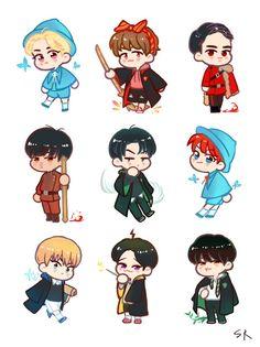 exo fanart D. Kpop Exo, Exo Anime, Anime Chibi, Exo Stickers, Cute Stickers, Exo Fanart, Exo Cartoon, Xiuchen, Cute Couple Art
